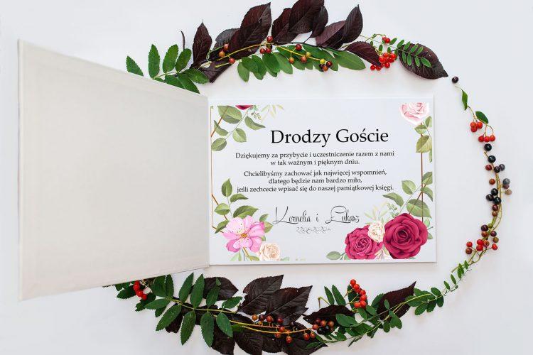 Księga gości na wesele, geometryczny kształt, róże 202_3