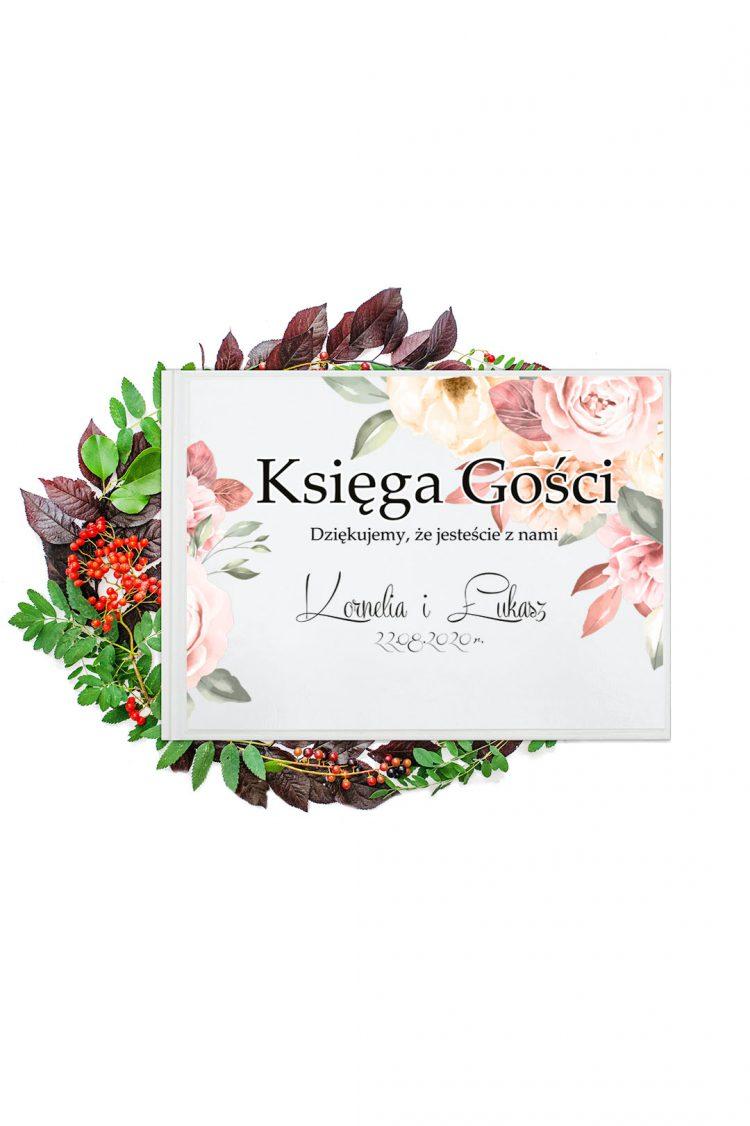 Księga gości na wesele, pastelowe róże, peonie 205