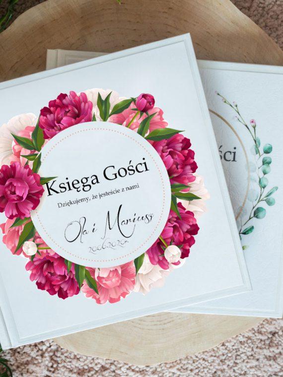 Księga gości na wesele, bukiet kwiatów, tulipany, peonie wzór 11
