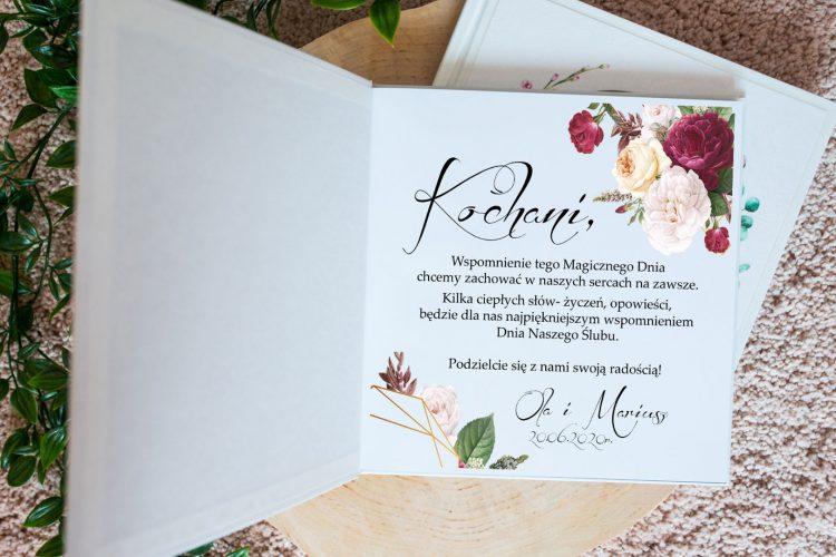 Księga gości na wesele, geometryczne serce, peonie