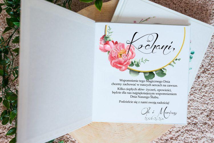 Księga gości na wesele, peonie i eukaliptus w kole