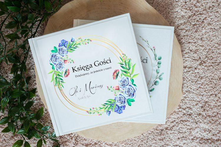 Księga gości na wesele, geometryczne koło, kwiaty wzór 18
