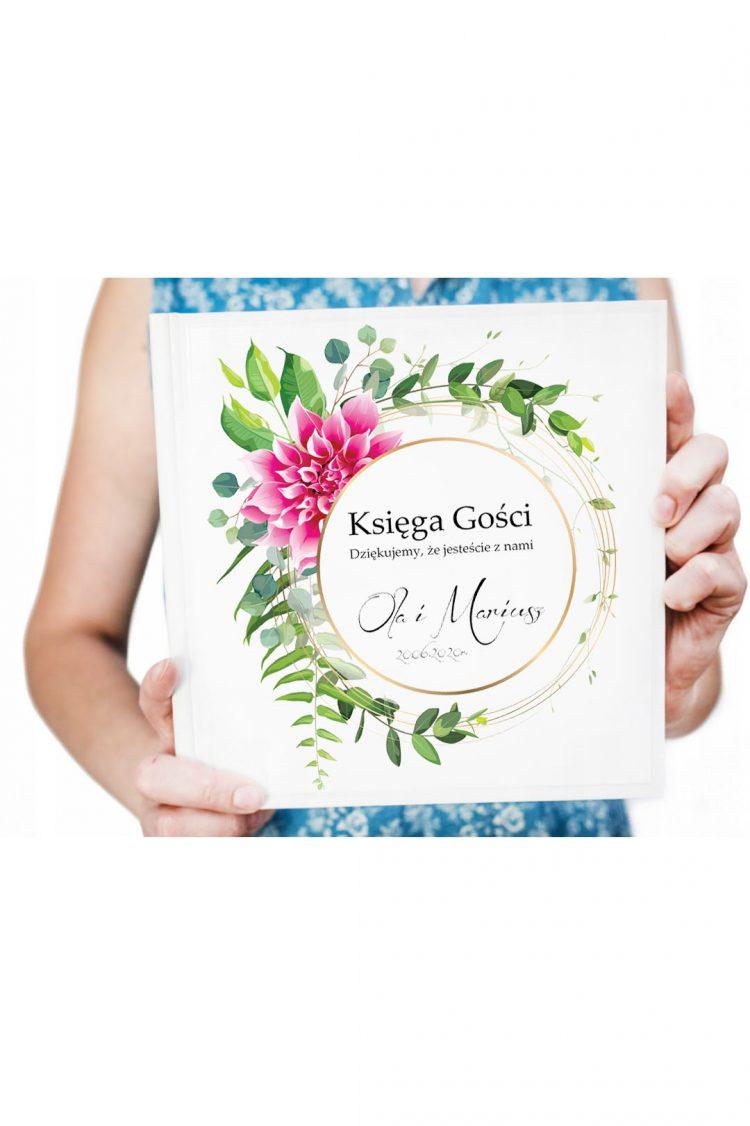 Księga gości na wesele, tropikalny kwiat i liście wzór 19