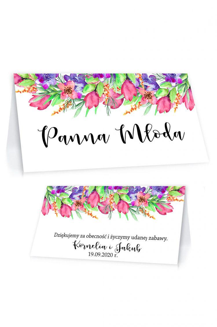 Winietki ślubne, na stół - różowe tulipany