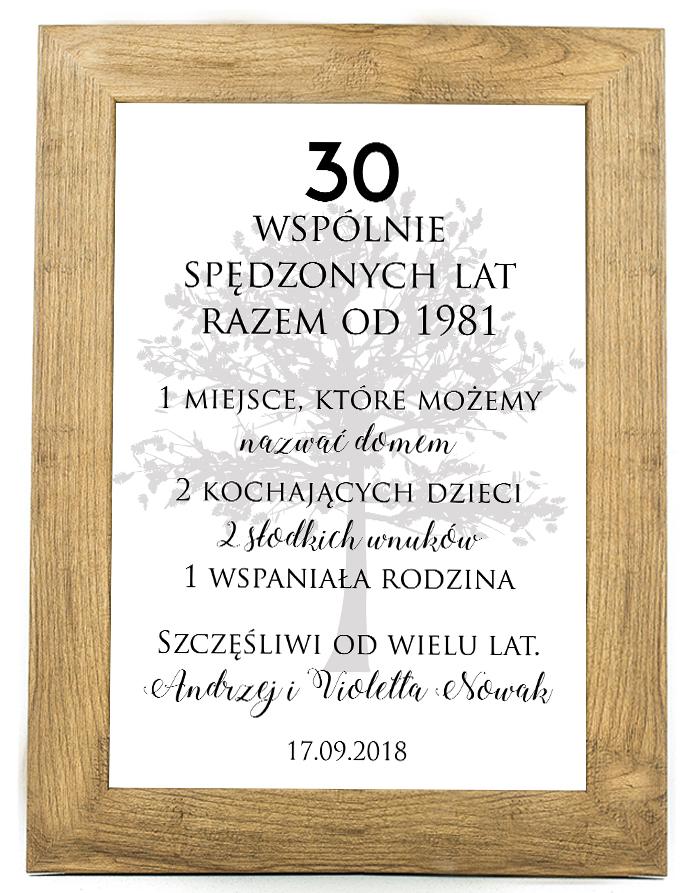 Plakat, prezent na ślub, rocznicę ślubu 30 rocznica SR2